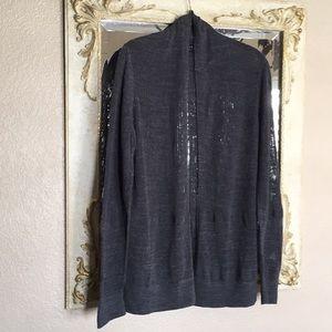 All Saints open cardigan. Dk heather gray. Size S